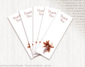 Printable bookmark - THANK YOU  (red haired girl), instant download, bookworm, reading group, doll bookmark, girl bookmark, girl birthday