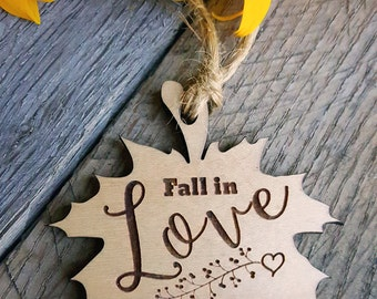 autumn fall in love leaf engraved wedding wood wooden rustic tag idea for favors maple syrup