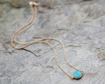 SALE 50% OFF! Turquoise and gold filled chain Raindrop necklace // turquoise bezel necklace // layering necklace