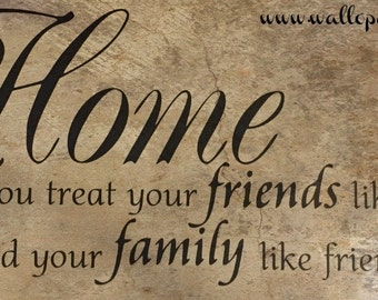 Home is where you treat your friends like family and your family like friends interior wall decal