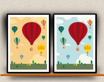 Illustration - Hot Baloons - Print Poster - Kids bedroom - Art Print  - Kids Wall Art - Kids Art Print