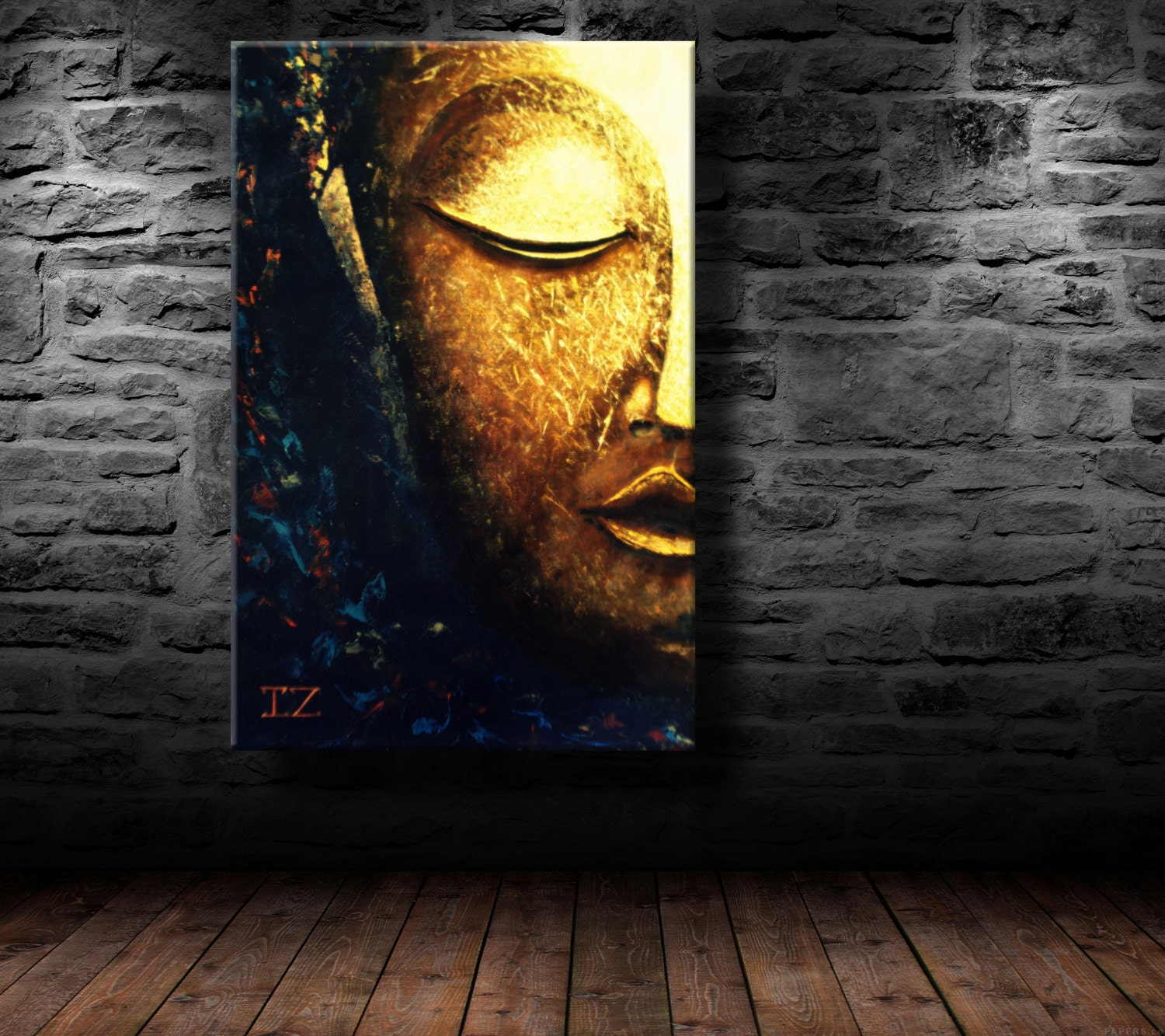 Oil painting modern art glowing buddha canvas for Wall art painting