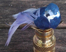 Bird Finial Bluebird Bluejay Cobalt Feather Lampshade Top Custom Handmade Custom Table Floor Lamp Harp Fitting Nickel or Brass Feathers