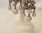 Vintage Bridal Miriam Haskell Couture Statement Earrings - Gold, Filigree, Rhinestones, wired baroque pearls