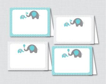 Printable Aqua Elephant Food Tent Labels Cards or Place Cards - Printable Instant Download - Aqua Gray Elephant Food Tent Cards - 0024-A