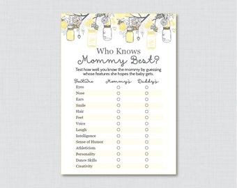 Mason Jar Baby Shower Who Knows Mommy Best Printable - Yellow and Gray Shower Game - Instant Download - Mason Jar Shower Game - Mason Jar