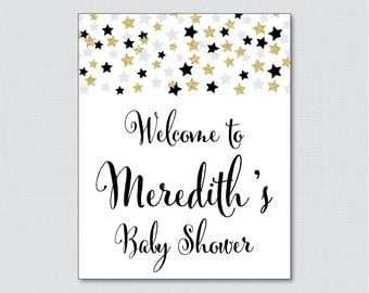 Star Baby Shower Welcome Sign Printable Personalized Shower Welcome Sign - Black Twinkle Twinkle Little Star Baby Shower Sign - 0028-K