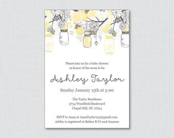 Mason Jar Baby Shower Invitation Printable or Printed Invite - Yellow and Gray Baby Shower Invites - Gender Neutral Mason Jar 0064-Y