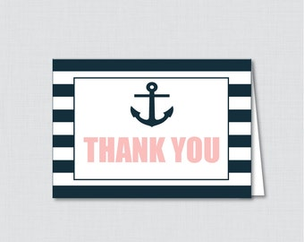 Printable Nautical Thank You Card - Printable Instant Download - Nautical Baby Shower Thank You Card, Navy and Pink Anchor Stripes - 0029-P