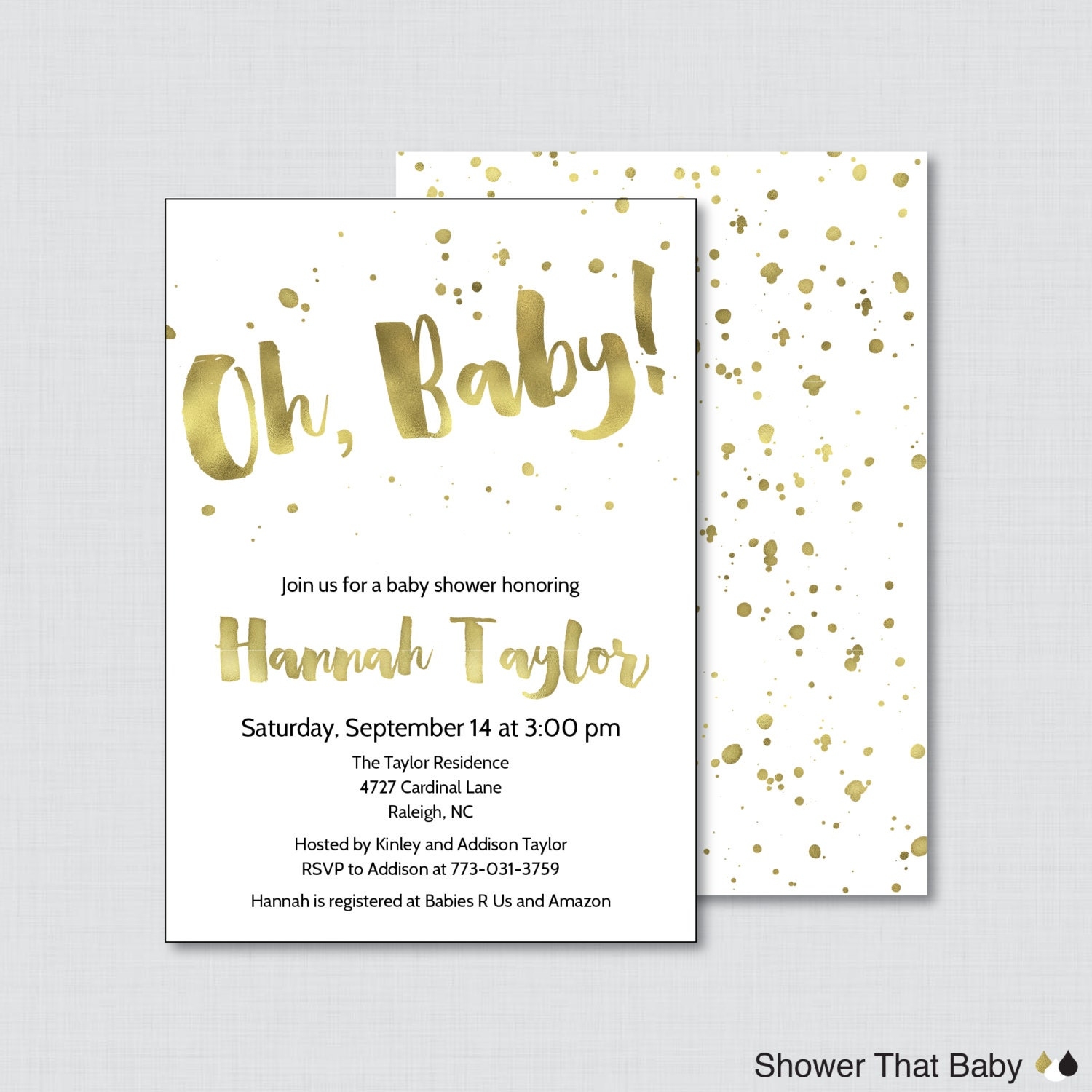 white and gold baby shower invitation printable or p faux