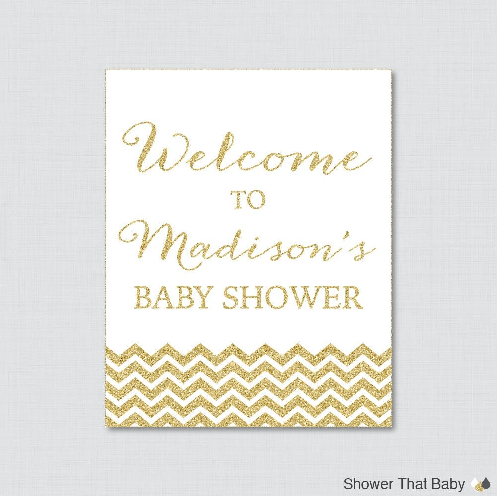 gold baby shower welcome sign printable personalized shower