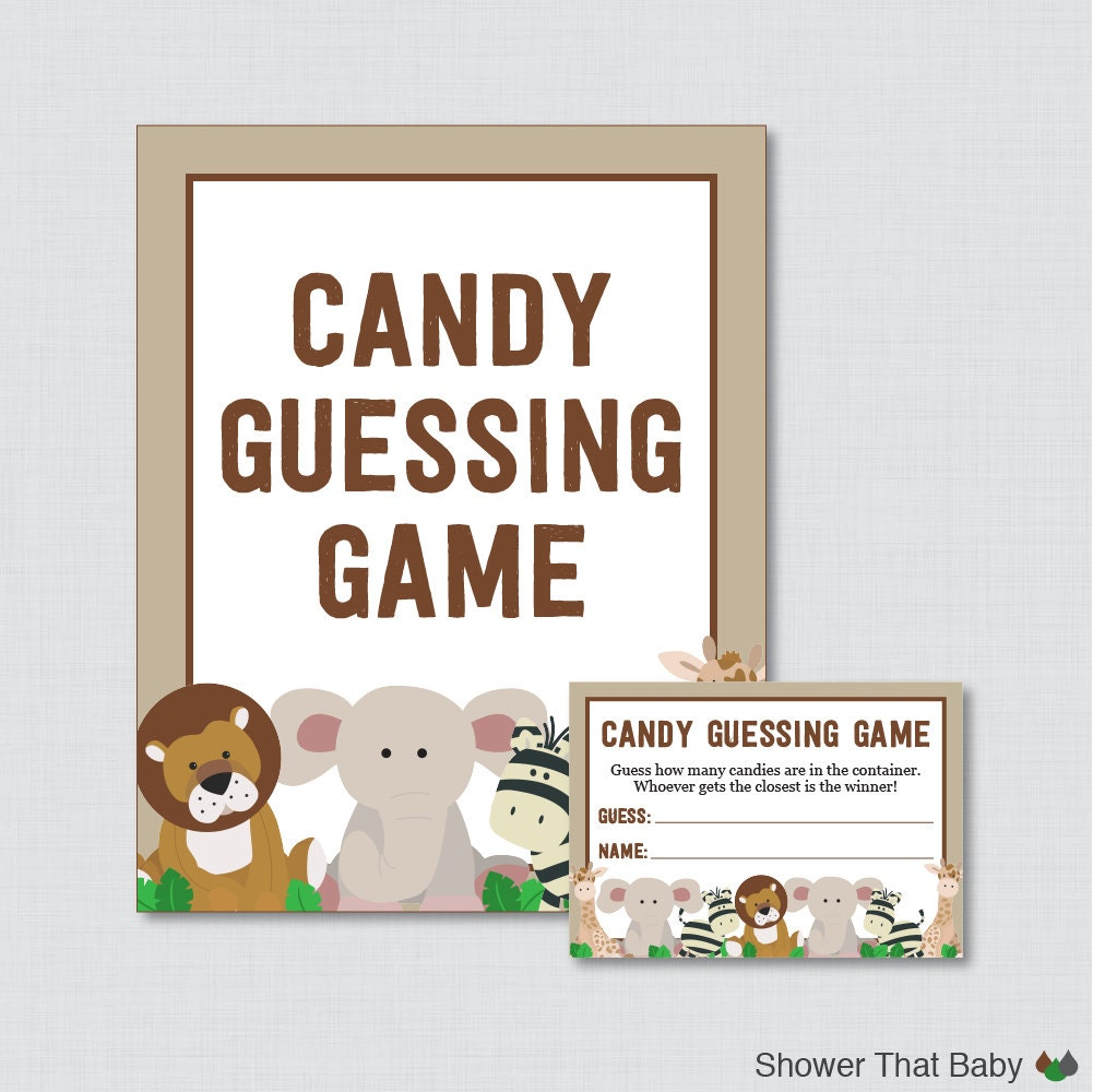safari baby shower candy guessing game printable guess how