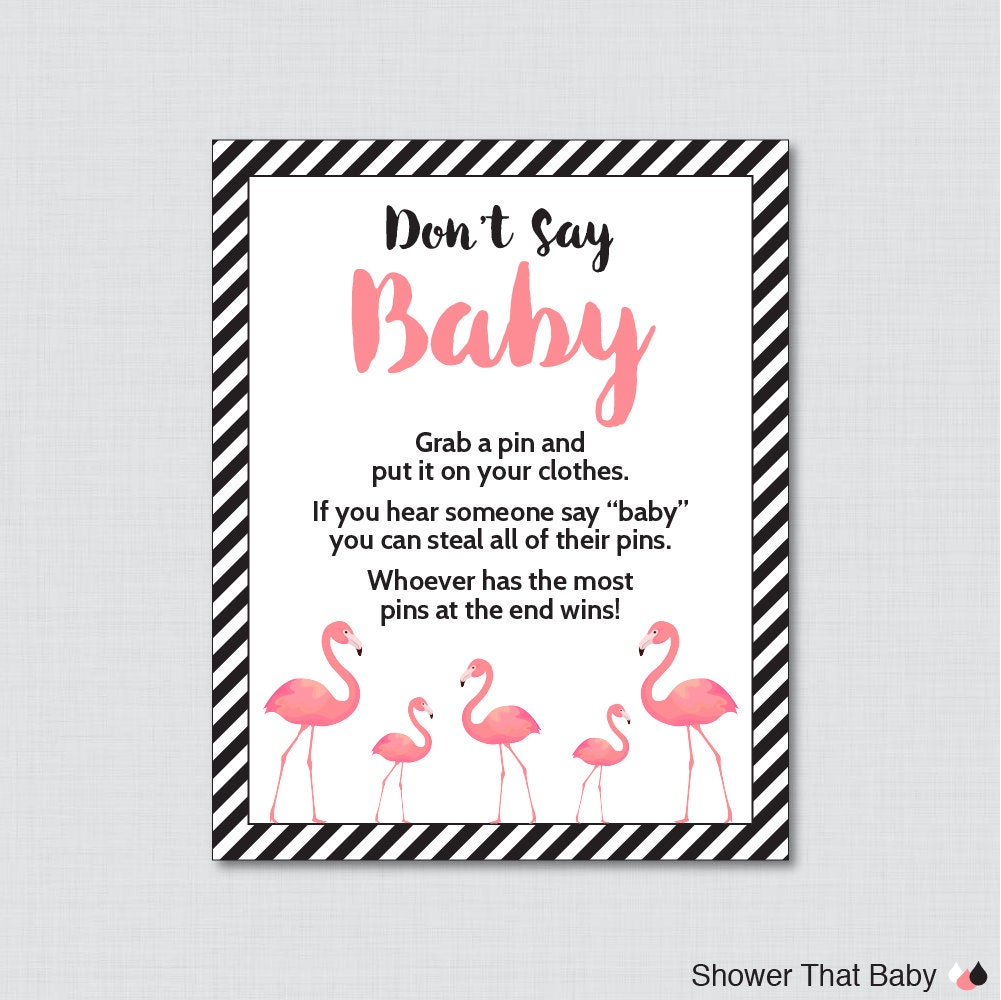 flamingo don 39 t say baby baby shower game printable