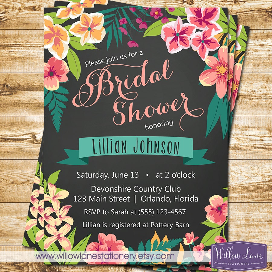 Rhode Island Wedding Invitation Printed: Chalkboard Tropical Bridal Shower Invitation Island Flowers
