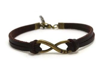 Infinity Best Friends Bracelet, Friendship Bracelet, Leather Bracelet, Infinity BFF Bracelet, Bohemian Bracelet, Unisex Bracelet, Gift Ideas