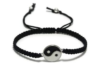 Yin Yang Bracelet, Macrame Bracelet, Yin Yang Jewelry, Ying Yang Bracelet, Yoga Bracelet, Zen Bracelet, Peace Bracelet, Unisex Bracelet