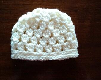 Crochet Cluster Stitch Baby Hat - Cream (Size: 0-3 Months)