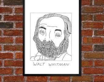 Badly Drawn Walt Whitman - Literary Poster - *** BUY 4, GET A 5th FREE***
