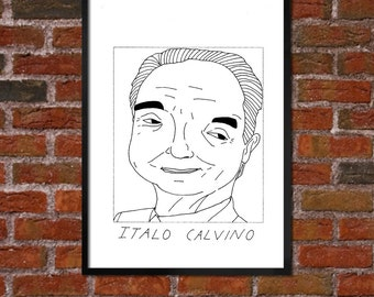 Badly Drawn Italo Calvino - Literary Poster - *** BUY 4, GET A 5th FREE***