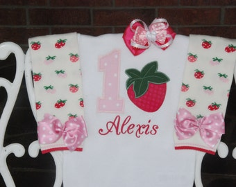 Baby Girl Strawberry First Birthday Outfit! First Birthday Outfit/Strawberry Birthday Outfit/Summer First Birthday Outfit