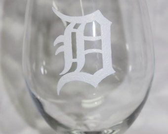 Hand Painted Detroit Tigers Wine Glass