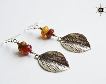 Agate Leaf earrings, Dangle leaf earrings, Boho earrings,