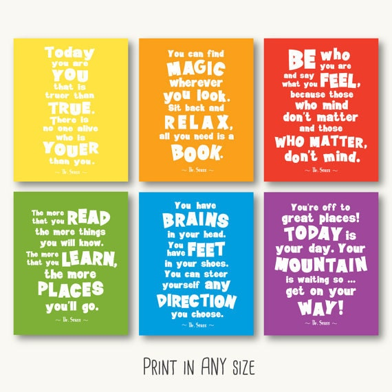 dr seuss quote print set primary colors printable motivational