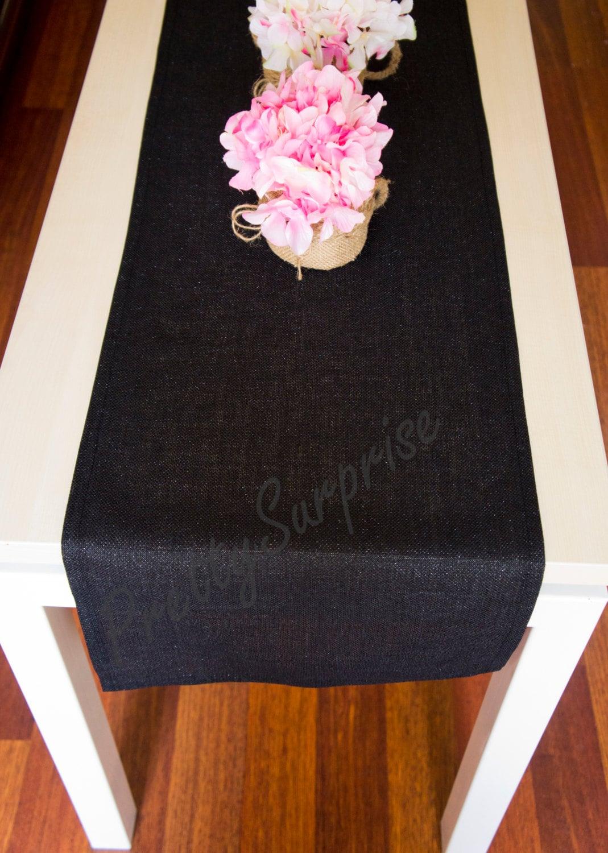 Runner lino lucido nero tavolo moderno runner di - Runner da tavolo moderno ...