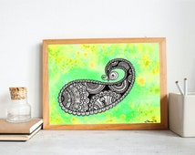 Zentangle Paisley Design, Instant Download Art, Bohemian Ethnic Wall decor, Printable Wall art, Colorful Trippy painting, Indian Design art