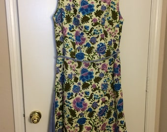 Home Sewn Floral Print Shift Dress, Size Large