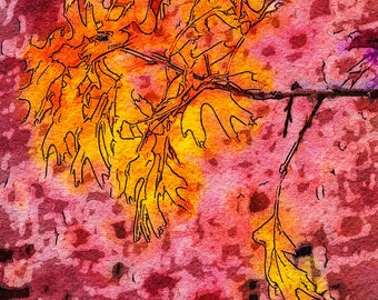 Autumn Oaks and Red Bricks - A Contrast Study of Fall. (A Fine Art Photo Watercolor/Illustration Print)