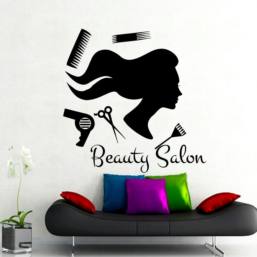 beauty salon wall stickers hair salon decal fashion by. Black Bedroom Furniture Sets. Home Design Ideas