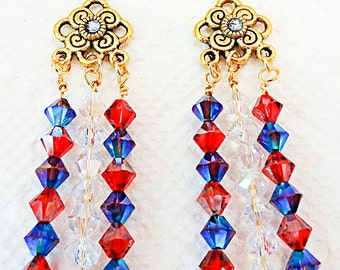0761+ - Patriotic earrings, patriotic jewelry, Memorial Day, Flag Day, Independence Day, red white and blue, ant gold focal, blue crystal