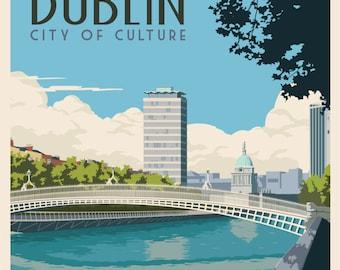 Ha'penny Bridge Dublin. Vintage Style Travel Poster