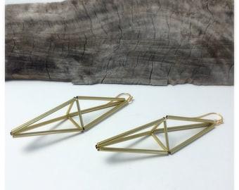No. 50 Himmeli Earrings in Brass Diamond Shape Lightweight Geometdic Earrings