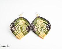 Army colours, woodland earrings, forest earrings, nature lovers, statement earrings, army jewelry, army jewellery