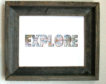 Explore Map Print. Shadowbox. 3D. Wall Art. Home Decor.