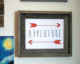 Adventure Arrows Print. Shadowbox. 3D. Home Decor. Wall Art.
