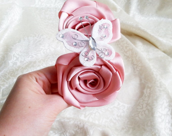 Dusky pink and white headband with handmade satin flowers and butterfly with sparkling elements, flower girl bridesmaid