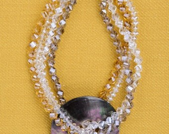CRYSTAL and Mother of pearl necklace: