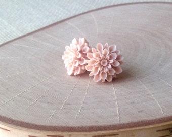 Amarantha Earrings - Pale Pink Flower Cabochon Stud Earrings - Very Fine and Delicate Detail - Pastel Tea Rose Dahlia - Summer Trend Jewelry