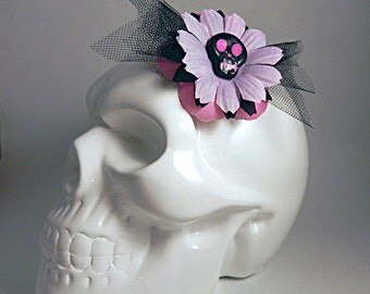 Pink and Black Small Floral Fascinator