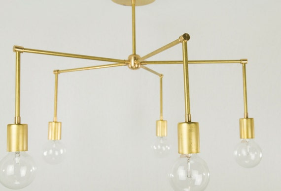 Modern Brass Light Fixture Raw Brass 5 Light Chandelier