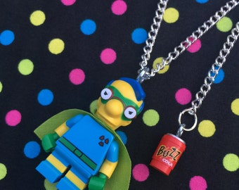 The Simpsons Fallout Boy Minifigure Necklace...Handmade using LEGO® parts