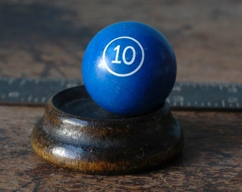 "1968 Miniature Billiard Ball Numbered 1.5"" 10 Ten X Blue White Old Pool Set Paper Weight Man Cave Vintage Small Present"