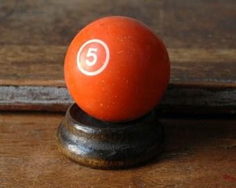 "Orange 5 Billiard Ball 2.25"" Number Solid Five White Number Paperweight Decor Plastic Bakelite Retro Pool Accessories Number"