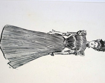 Charles Dana Gibson Girl - 1899 VICTORIAN Lady in AFTERNOON Dress and HAT - Professionally Matted Fashion Lithograph Print Ready to Frame