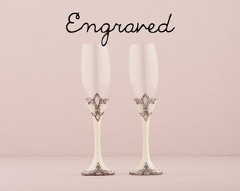 Personalized Wedding Flutes - Engraved - Fleur De Lis Wedding Champagne Flutes - Custom Wedding Toasting Flutes - Wedding Gift - Keepsake