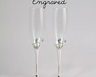 Personalized Wedding Toasting Flutes - Engraved - Open Loop Heart Wedding Champagne Flutes - Custom Wedding Glasses - Gift - Keepsake