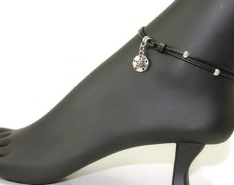Black leather anklet - women  anklet - womens leather anklet - black anklet - ankle bracelet - charm jewelry - toggle clasp